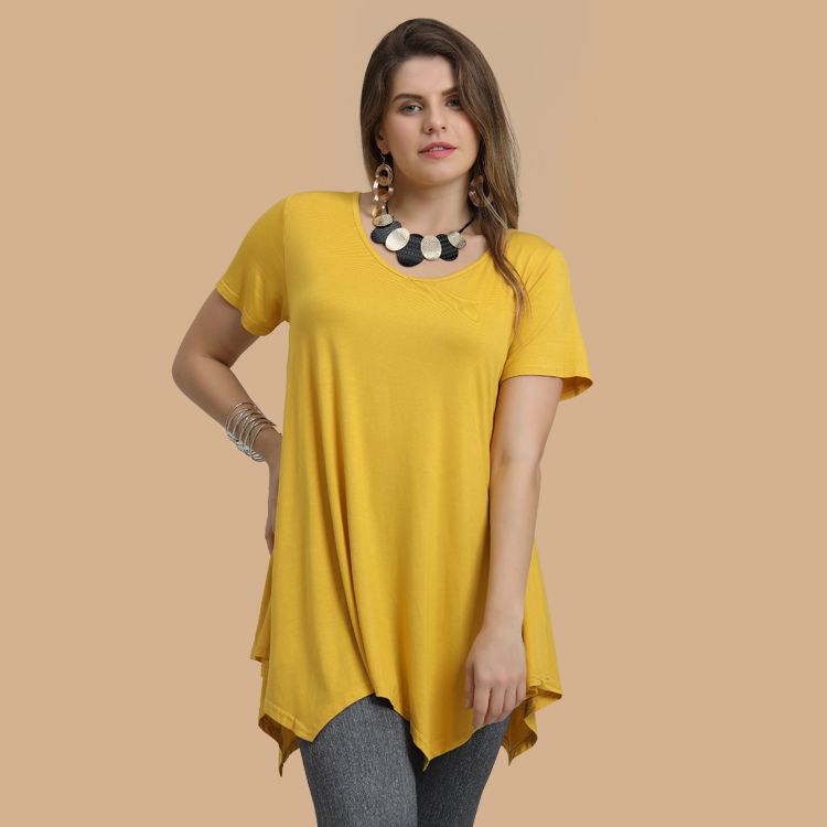 38dbd64fa41 Larace Blouses Short Sleeve Solid Top Plus Size V neck Long Flowy Tunics to  Wear with Leggings
