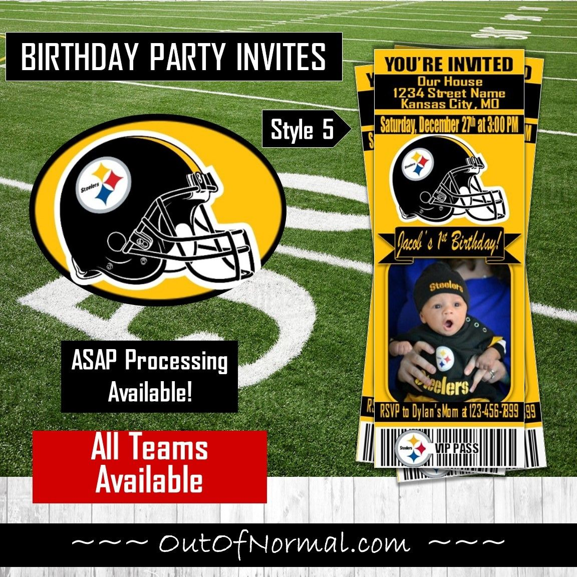 Pittsburgh Steelers Nfl Football Ticket Style Photo Invite