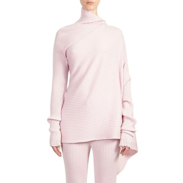 Marques'Almeida Asymmetric Wool Knit Pullover (3 160 SEK) ❤ liked on Polyvore featuring tops, sweaters, pink pullover, rib knit sweater, wool knit sweater, wool sweater and asymmetrical sweaters