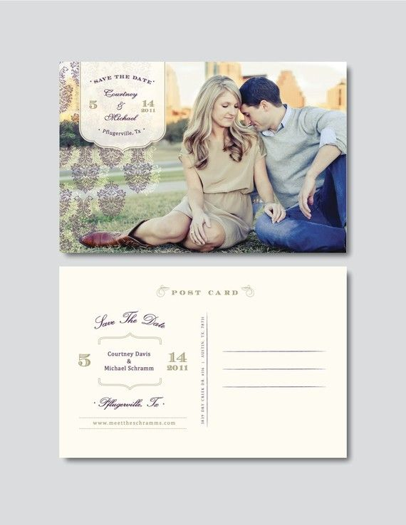 Vintage save the date postcard template digital for Free vintage save the date templates