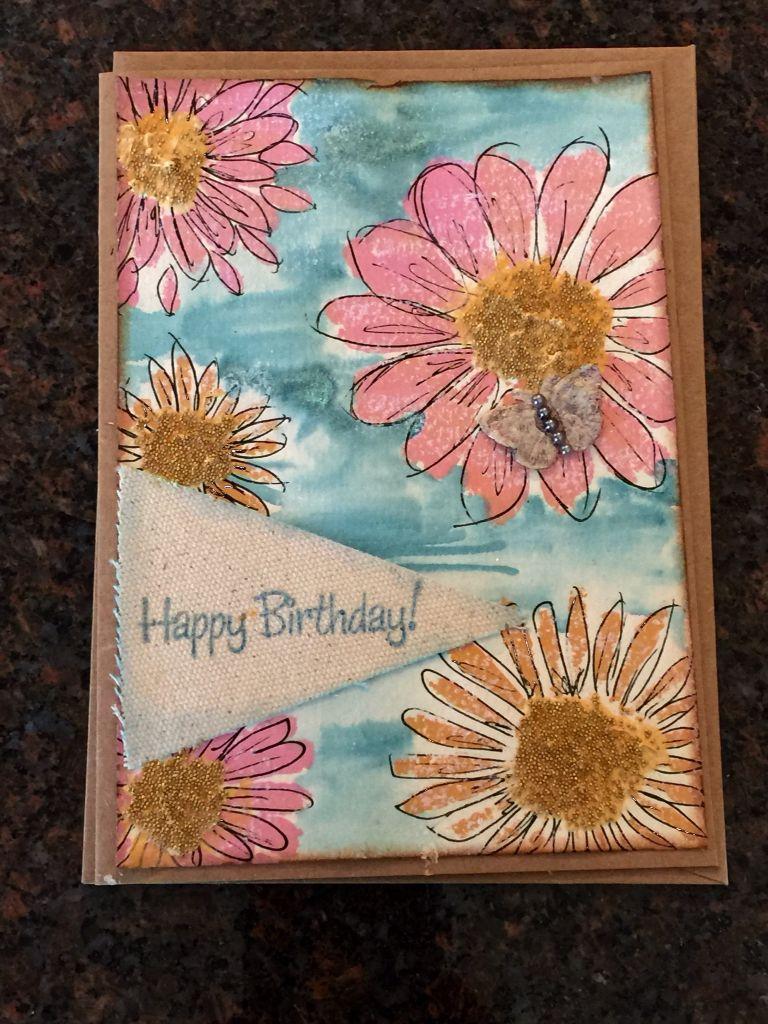 Watercolor Flowers Happy Birthday Card Rickis Handmade Cards