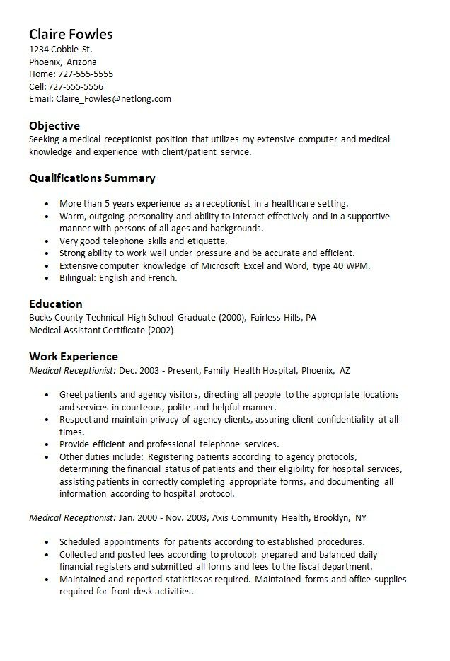 Sample Resume Medical Receptionist\u2026 My Career/Medical Office - Clinic Receptionist Sample Resume