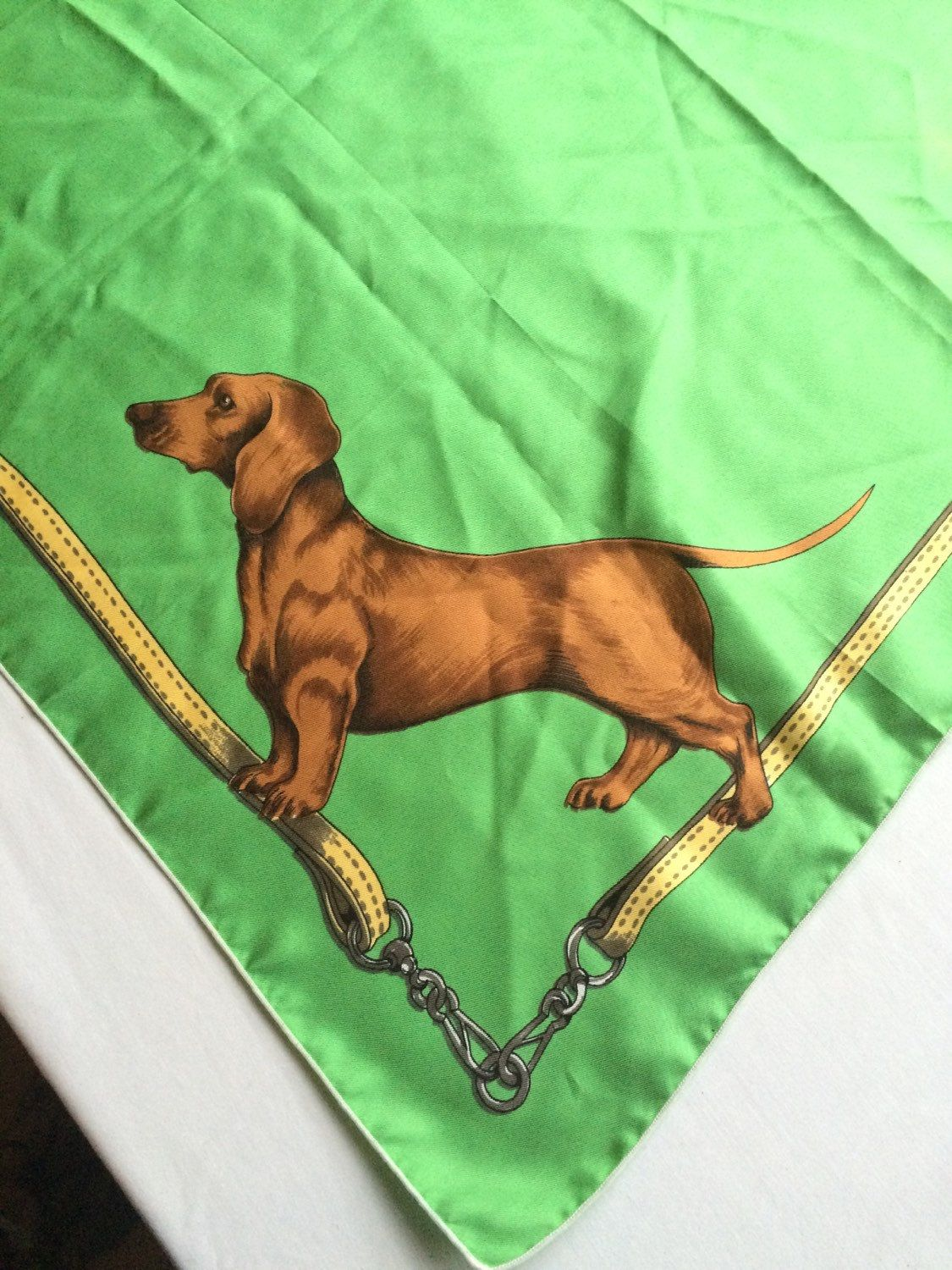 RARE Vintage SOIE made in France French silk Scarf Dog Lover scarves Dachshund Silk Hand Rolled Weiner Dog motif Green by JanetsVintagePlanet on Etsy