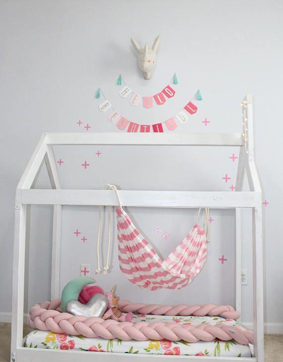 Hammock Kids Hammock Montessori Style Pink Hammock Stripes