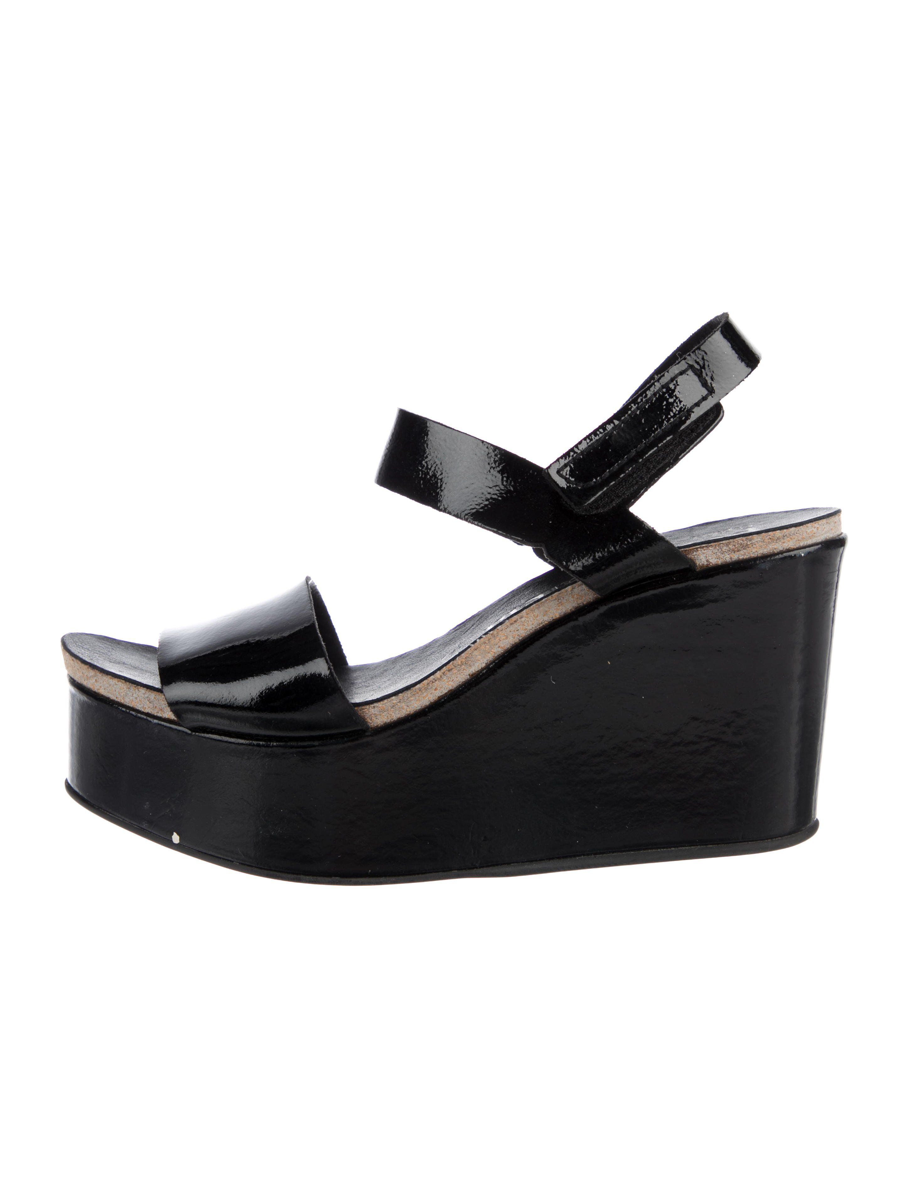 Black Patent Leather Pedro Garcia Dulce Wedge Platform Sandals With Covered Heels Rubber Soles And Velcro Closures A Wedges Wedge Sandals Black Patent Leather