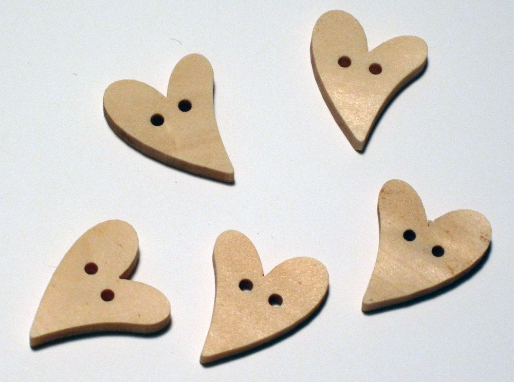 Wooden Heart Buttons 12x12mm Pack Of 12