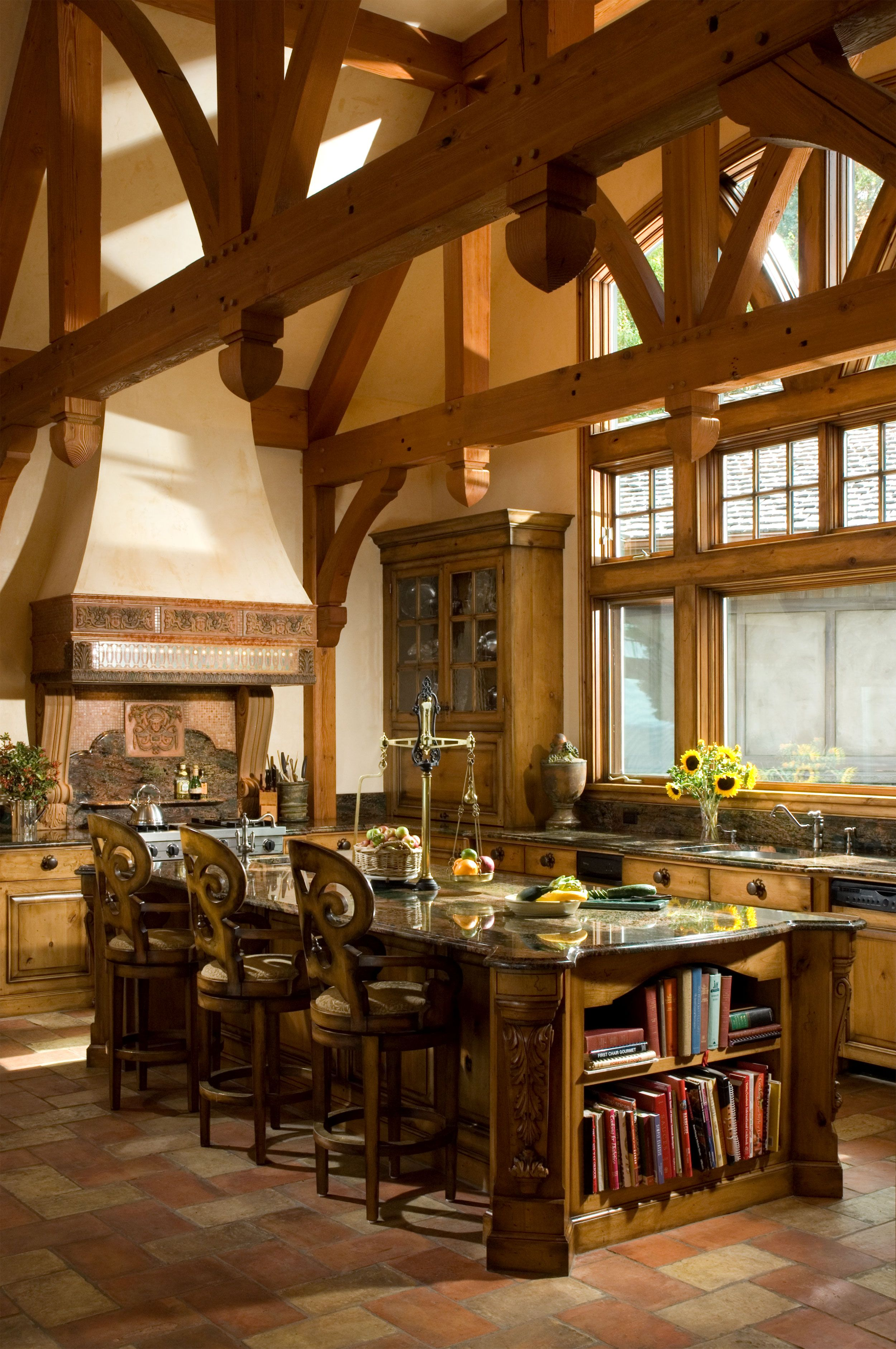 Sophisticated Country Kitchen With An Open Beamed Ceiling