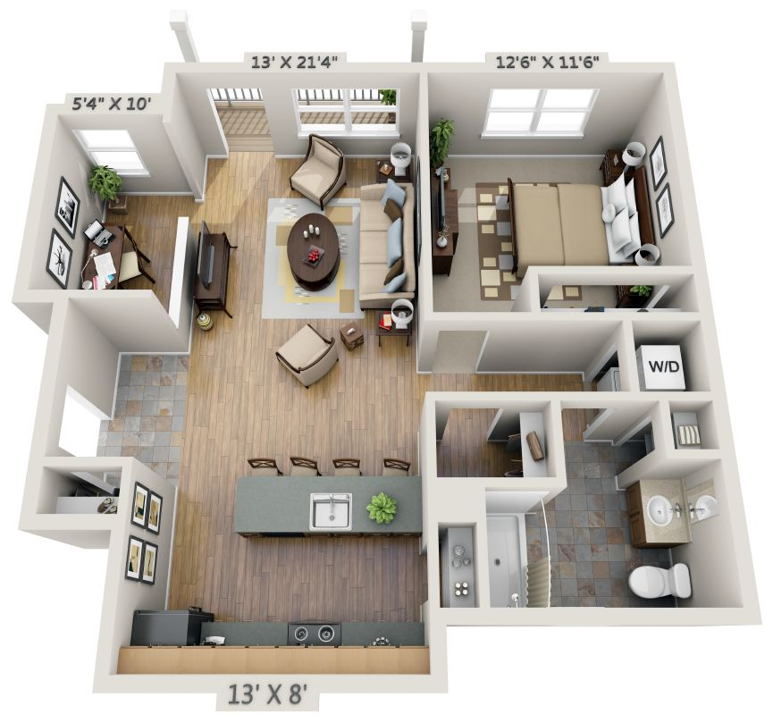 Image Result For One Bedroom House Plans 3d One Bedroom House Plans One Bedroom House House Plans