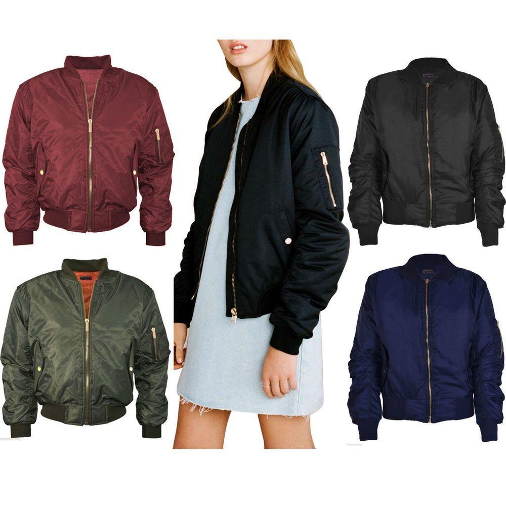 Womens Ladies Classic Padded Bomber Jacket Vintage Zip Up Biker Coat Stylish