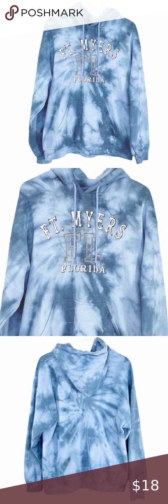 Fort Myers Florida Blue Tie Dye Hoodie Sweatshirt Tie Dye Hoodie Sweatshirts Hoodie Blue Tie Dye