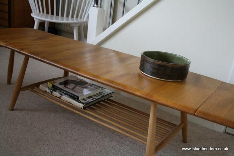 vintage 1960s ercol windsor extending long coffee table mid century