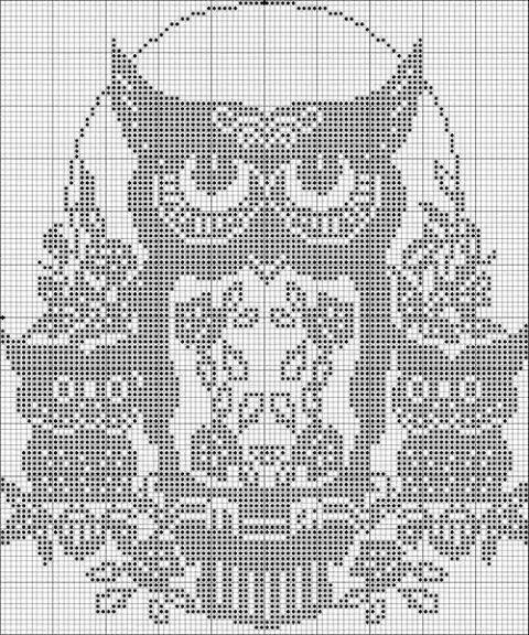 Uil Filet Haken Pixel Haken Crochet Filet Crochet En Cross Stitch