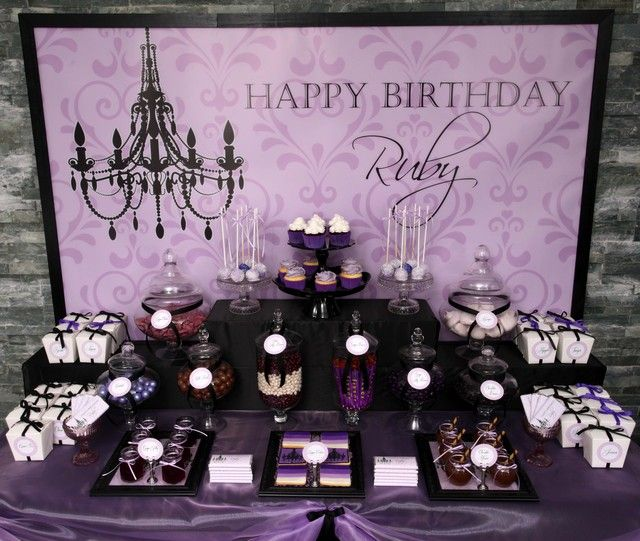 Purple black sophisticated tween birthday party