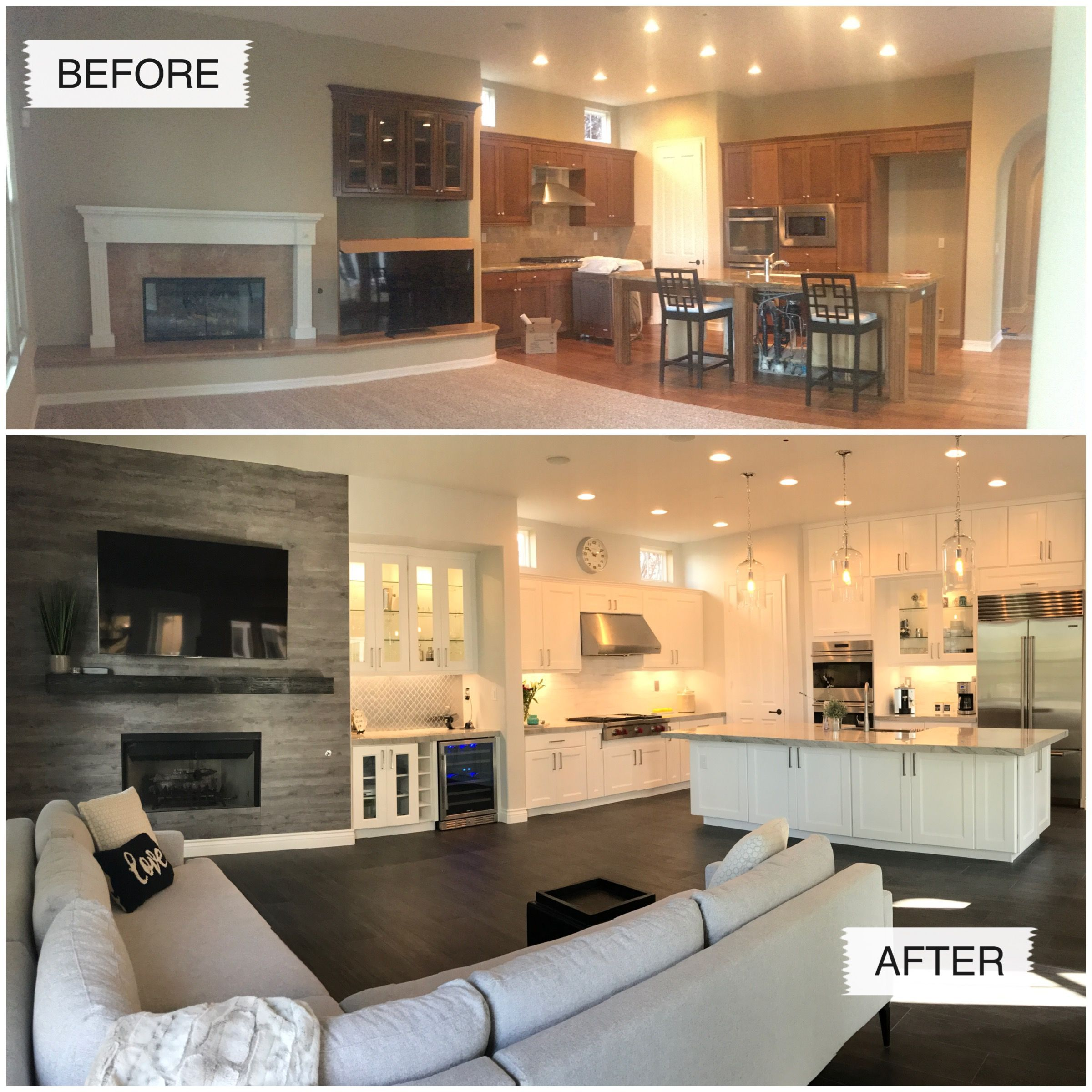 Before And After Pictures Of Our Kitchen Remodel Home Remodeling Living Room Remodel Home Renovation Remodel living room and kitchen