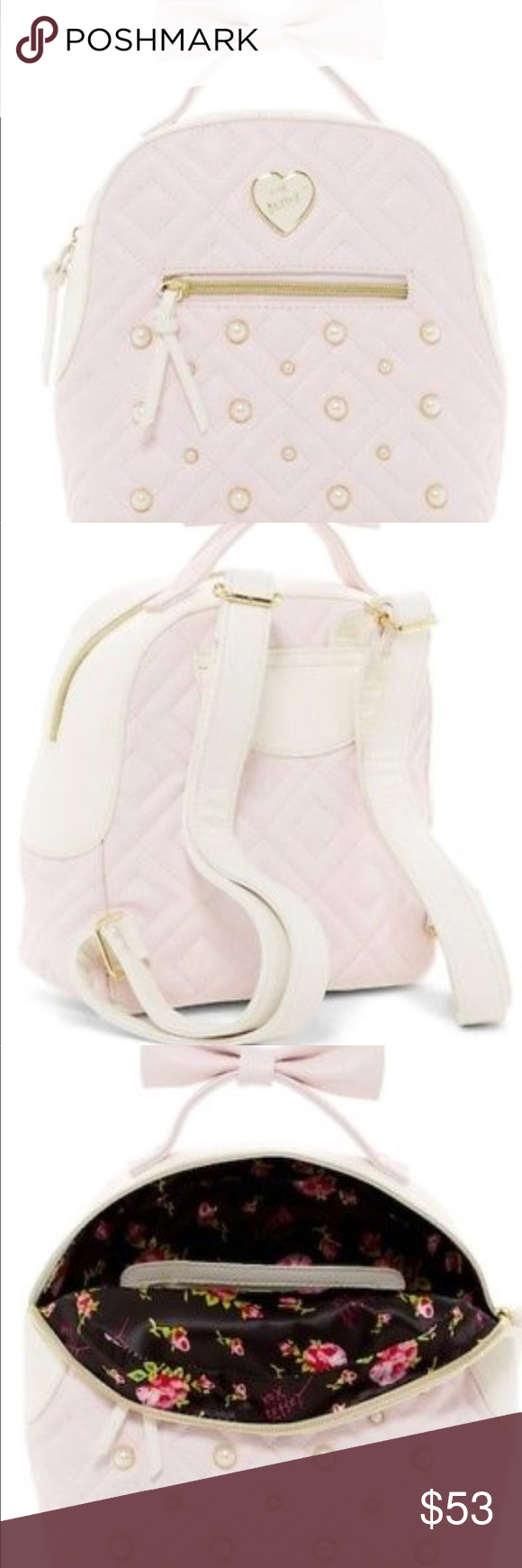 230baa5aea84 Betsey Johnson mini backpack - Betsey Johnson Chevron Heart quilted medium  backpack - Color   blush