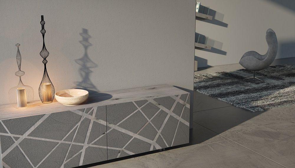 Credenza Moderna Ante Scorrevoli : Madia in cemento con ante scorrevoli complanari quercia