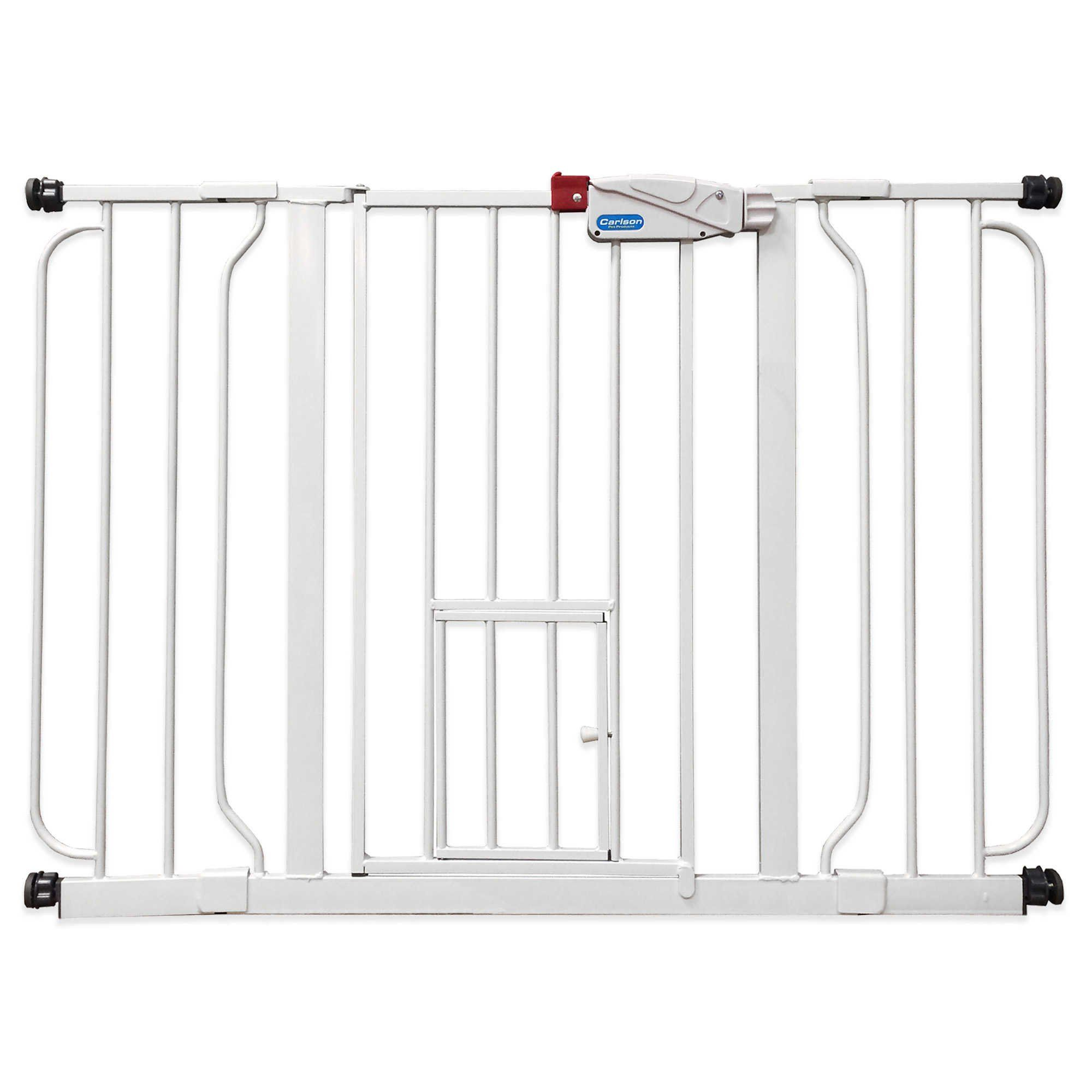 "Carlson Extra-Wide Walk-Through Gate in White. This Extra-Wide Walk-Through Pet Door Gate limits large animals from roaming freely through your home while the built-in 10"" H x 7"" W pet door lets cats and other small animals through. Pass-through gate lock can be opened with one hand. Pressure or hardware mountable. 90% steel / 10% plastic. Wipe clean with a damp cloth."