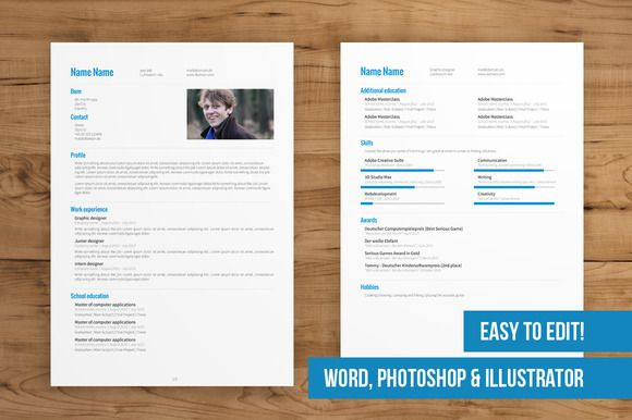 2 Page Cv Template Easy To Edit Cv Template Creative Resume Templates Downloadable Resume Template