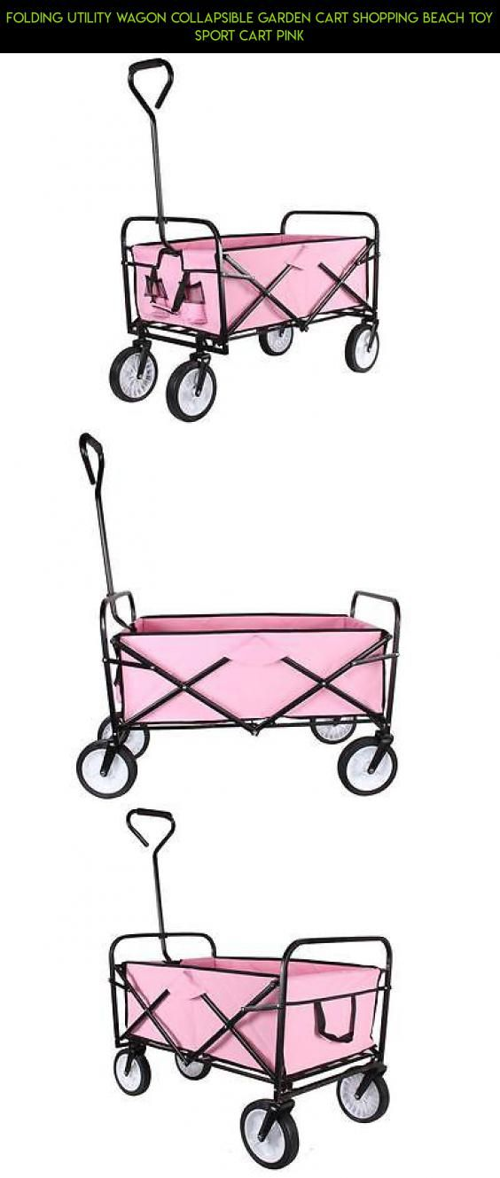 Folding Utility Wagon Collapsible Garden Cart Shopping Beach Toy Sport Cart  Pink #shopping #plans