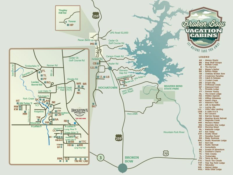 Broken Bow Vacation Cabins Map Broken Bow Ok Pinterest