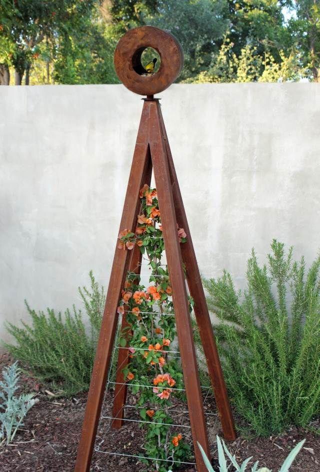 Gartendeko Modern gartendeko betonwand spalier rost effektvolle idee birdhouses and