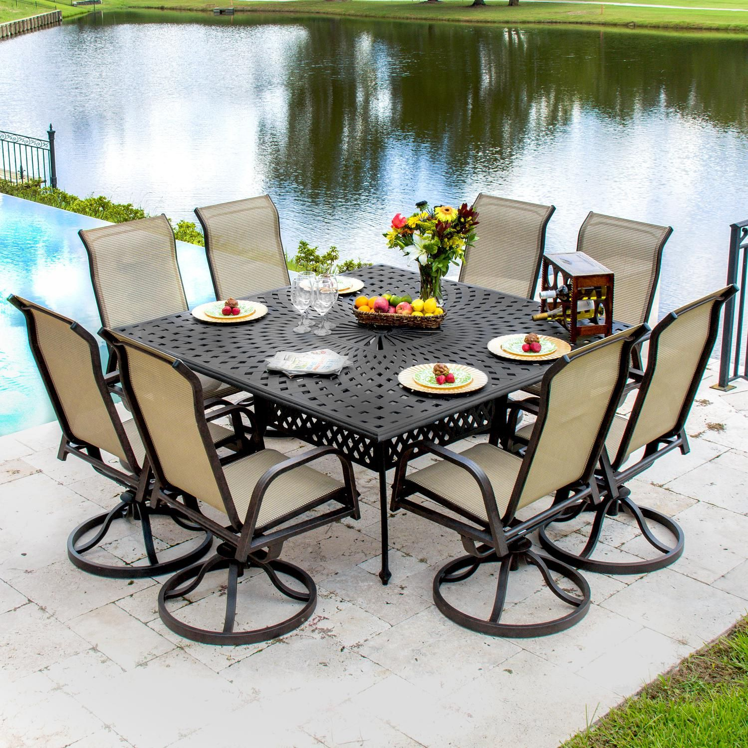 What A Beautiful Set Madison Bay 8 Person Sling Patio Dining With Cast Aluminum Table