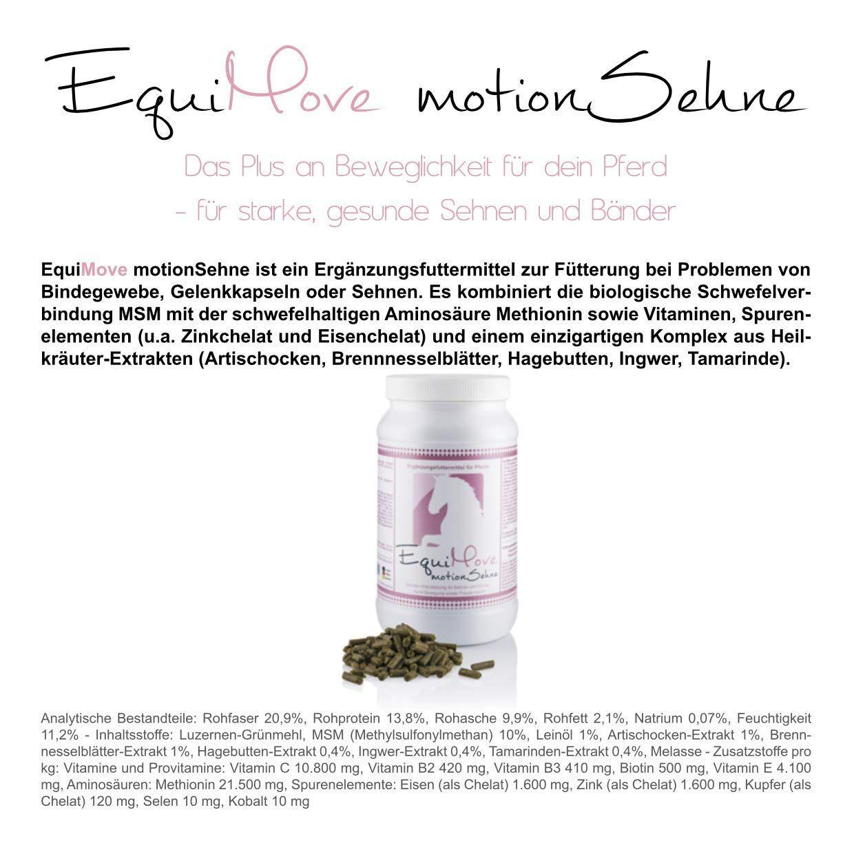 EquiMove Motion Sehne. Ergänzungsfuttermittel (1,5 kg) für Pferde. Bei Sehnen- oder Bindegewebsproblemen mit MSM und mehr.: Amazon.de: Haustier