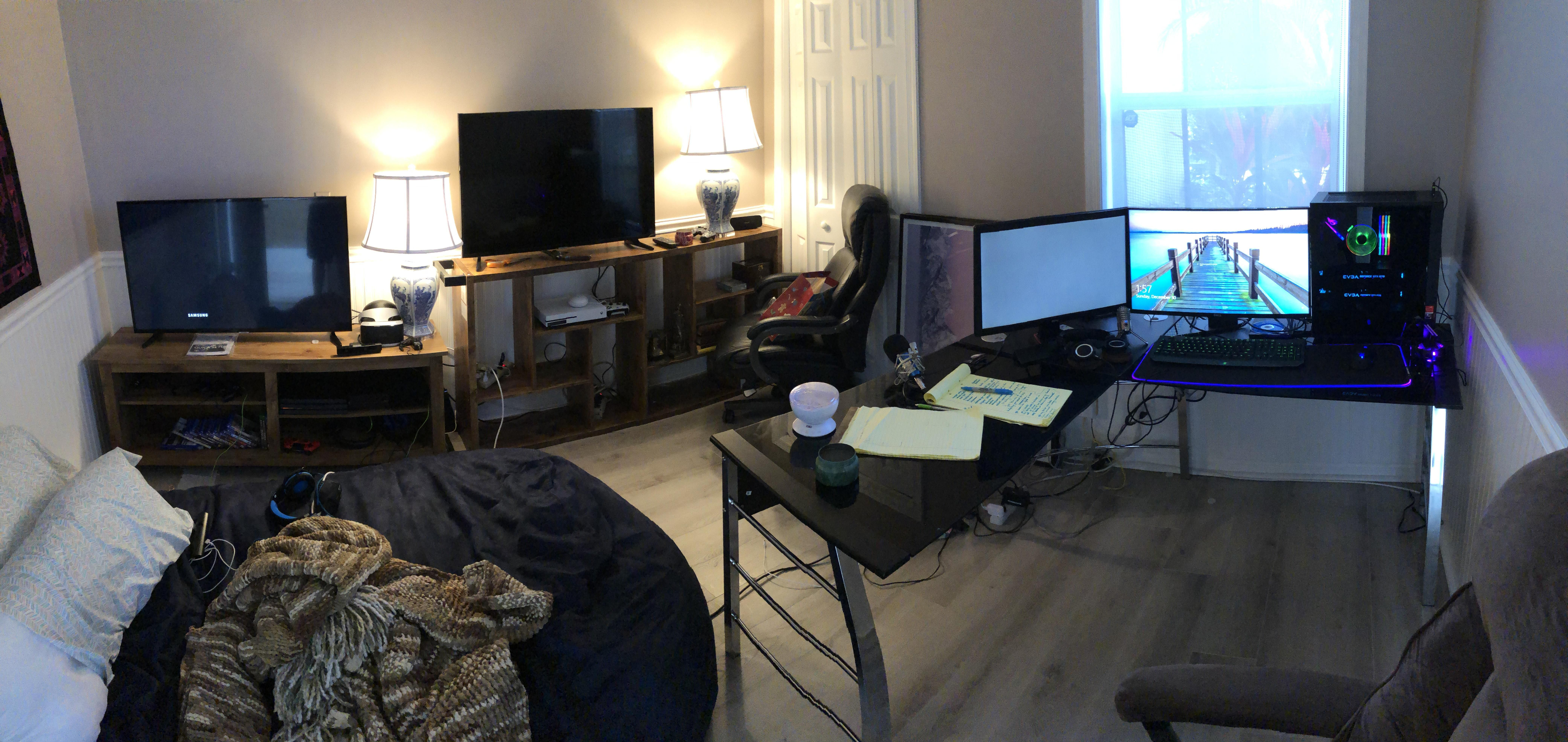 Setting Up My First Gaming Room Just Finished My Pc Build And Got Two Tvs For The Xboxs Its Coming Along Nicely Any Suggestions Game Room Room Home Decor #pc #for #living #room