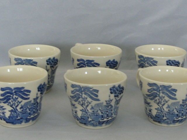 6 Vintage Blue Willow Tea Cups England EIT LTD - Excellent Condition ...