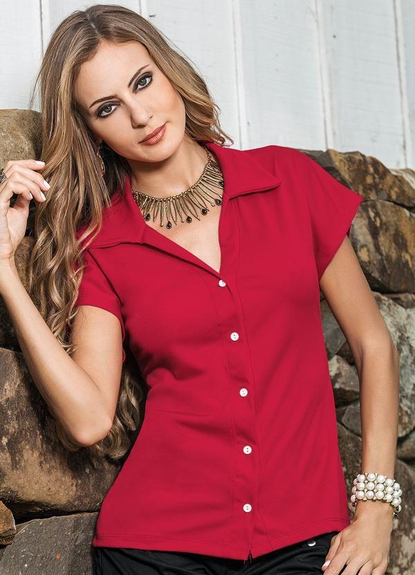 4fa568e66 Camisa Feminina Vermelha Manga Curta - Posthaus | FASHION - CAMISAS ...