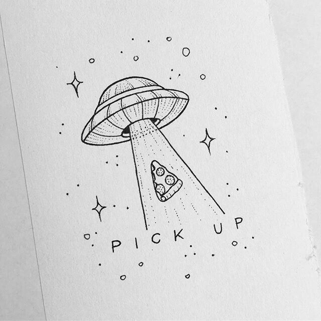 Alien Spaceship Picking Up Pizza Drawing Pinterest Drawings