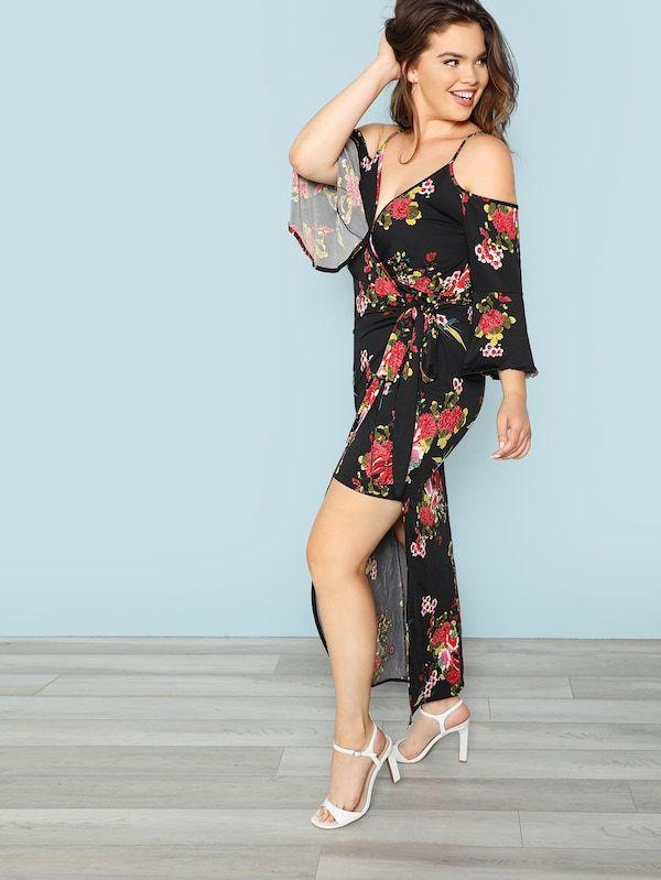 b9628873 Floral Wrap Dress Sleeve Length: Three Quarter Length Sleeve Dresses Length:  Maxi Silhouette: