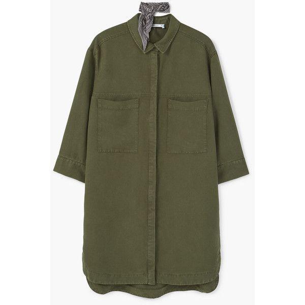 MANGO Soft Shirt Dress ($80) ❤ liked on Polyvore featuring dresses, khaki, 3/4 sleeve dress, long shirt dress, 3/4 length sleeve dresses, khaki shirt dress and shirt dress