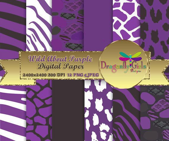 WILD About Purple Black ,paperpacks, commercial use, digital scrapbook papers, vector graphics, printable, Instant Download