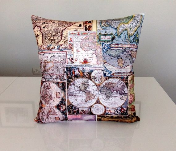 Map pillow world map pillow map cushion by cevizelisleri great items similar to map pillow world map pillow map cushion antique map antique map pillow vintage decor map pillow cover zippered pillow on etsy gumiabroncs Choice Image