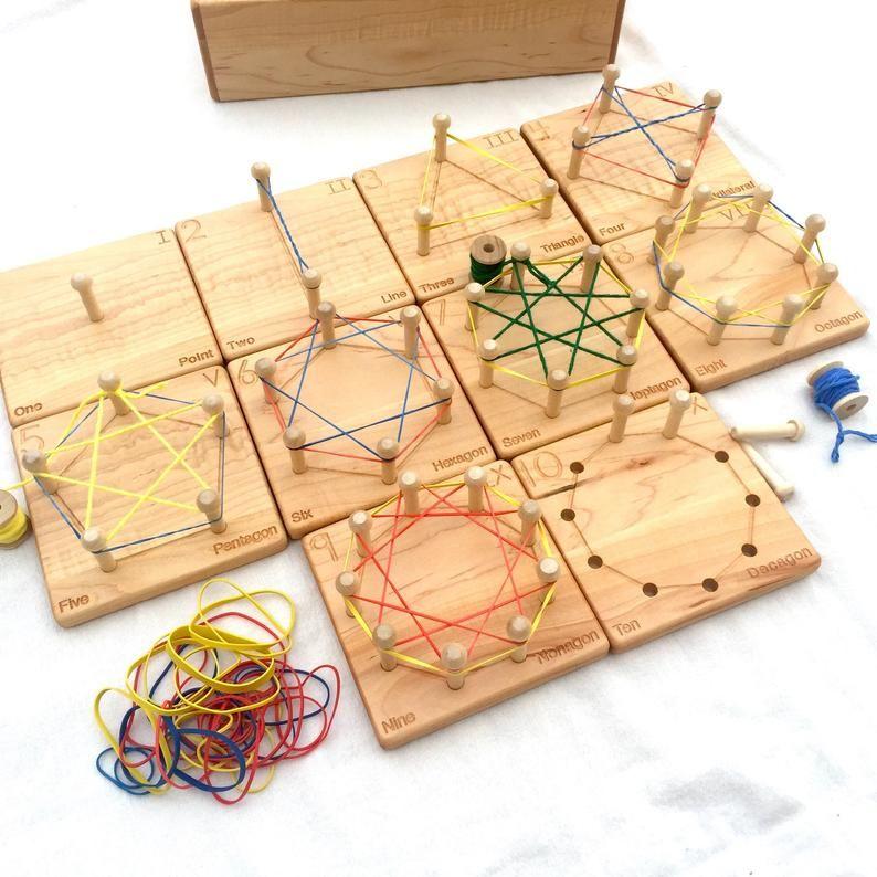 Wooden Geometry Cards — Homeschool Math Toy — From Jennifer