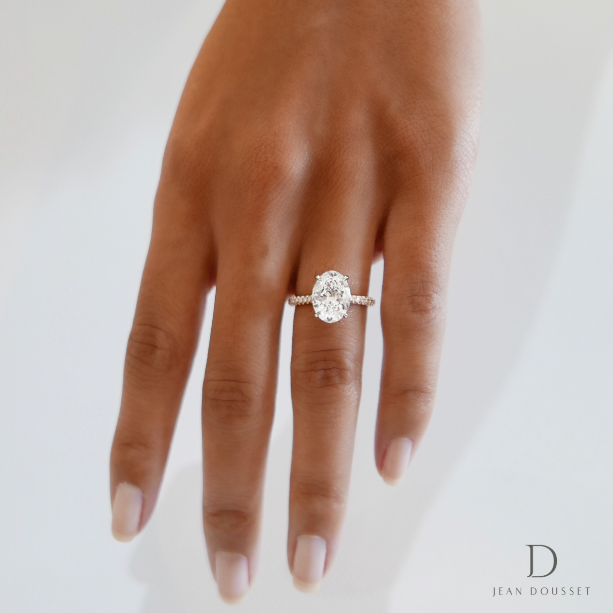 The Luna engagement ring with an oval cut diamond