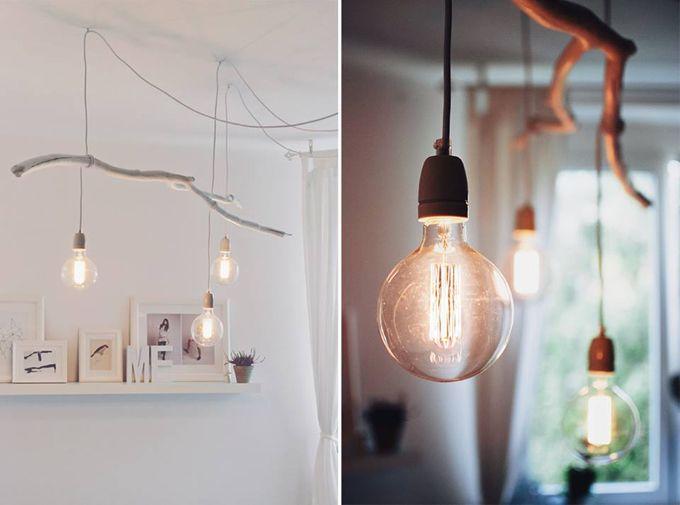 Diy Branch Ceiling Light Ceiling Lights Hanging Light Bulbs