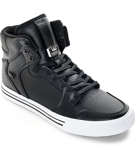 Supra Vaider Classic Black Leather Skate Shoes Zumiez
