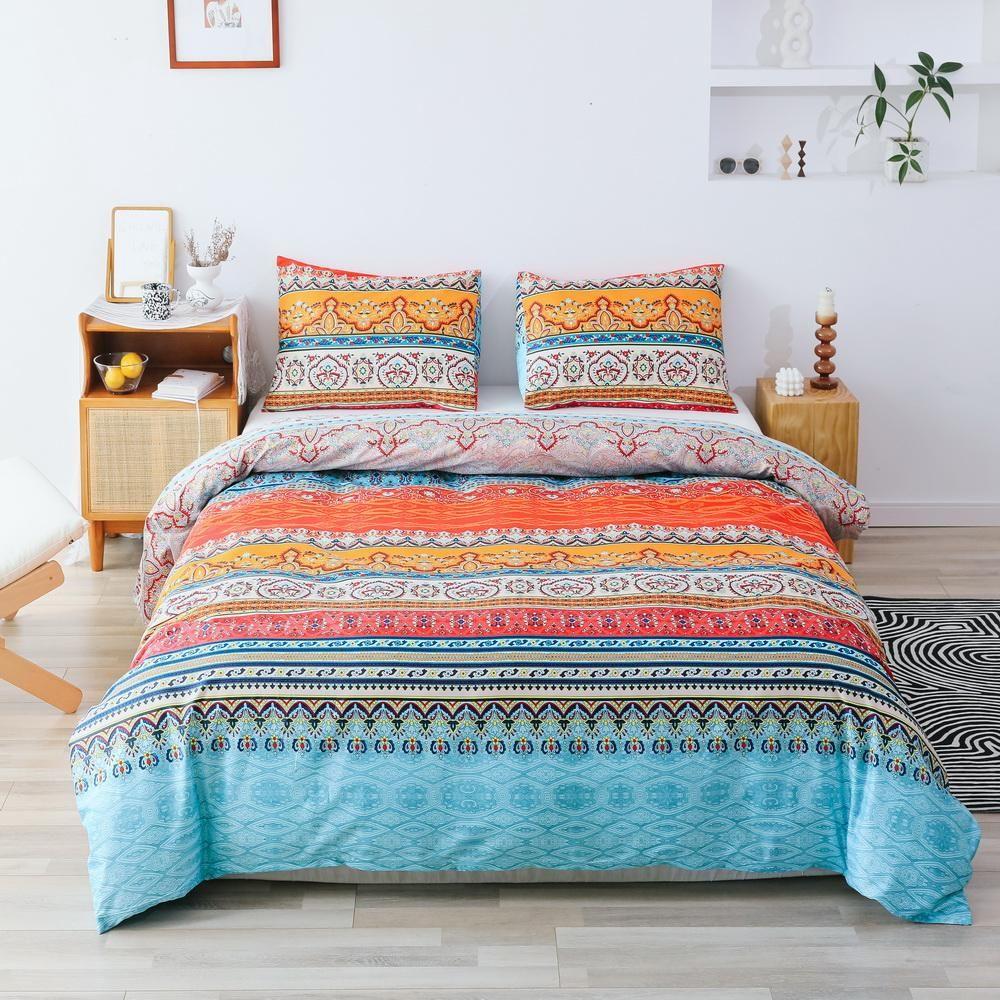 Photo of 3 PCS Comforter Bohemia Pattern Printed Bed Comforter Microfiber Soft Breathable Bedding (1 Comforter, 2 Pillow Shams)