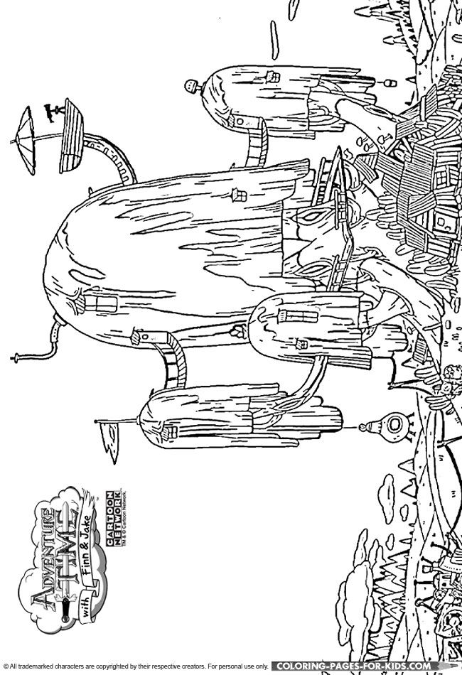 adventure time tree fort coloring page for kids a great adventure time coloring page for kids for your kids to color in with markers crayons and pencils - Adventure Time Coloring Pages