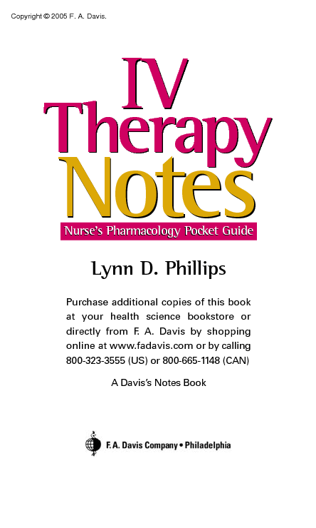 IV Therapy Notes Nurse Clinical Pocket Guide (PDF)
