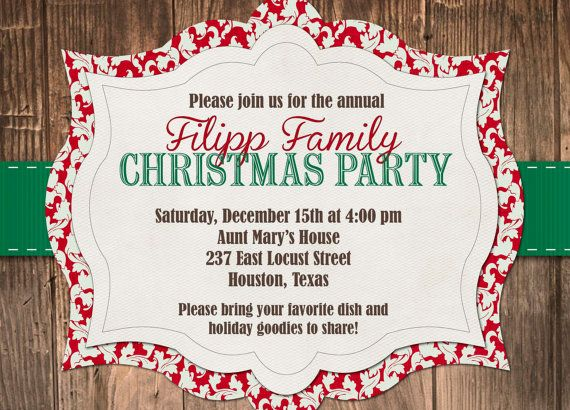 Custom Red And Green Rustic Christmas Party Invitation  Fa La La