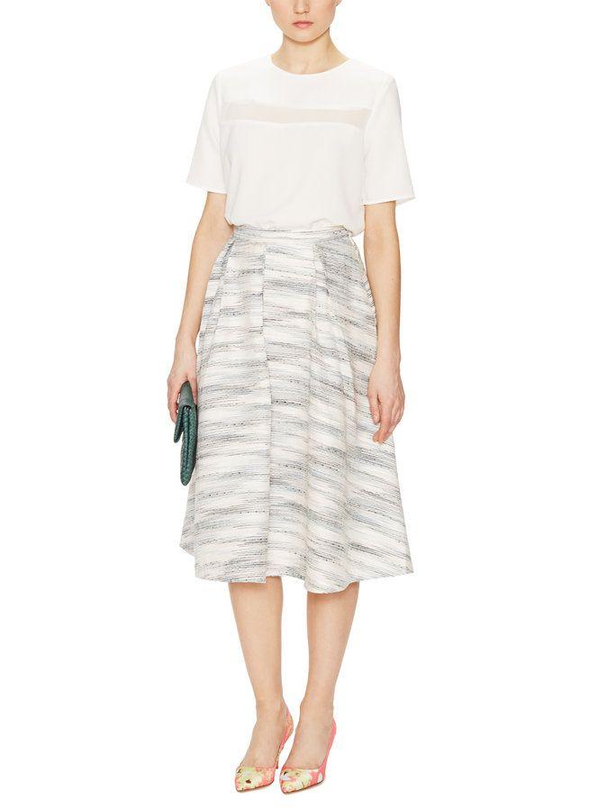 Tweed Inverted Pleat Skirt