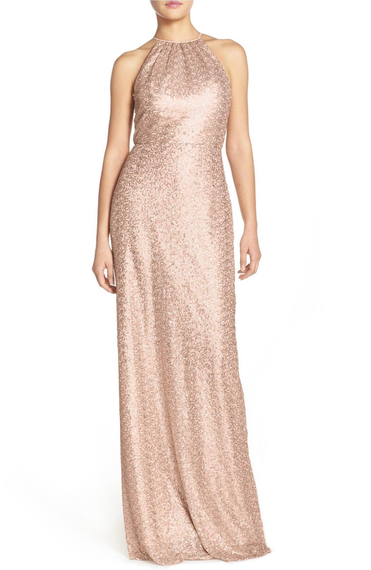 Halter style wedding dresses  Main Image  Amsale uChandleru Sequin Tulle Halter Style Gown