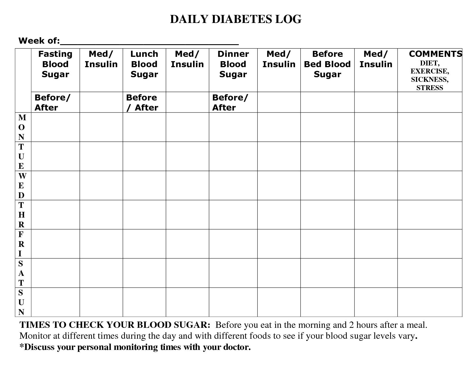 Printable Diabetic Food Log Sheets