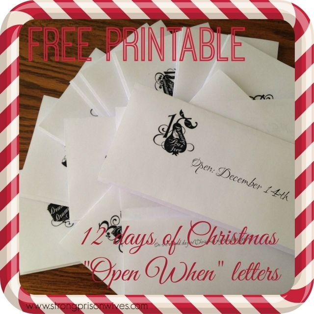 "12 Days Of Christmas ""Open When"" Letters! And Free"