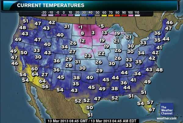 US: Current Temperatures | ME OR FOR ME | Winter storm ...