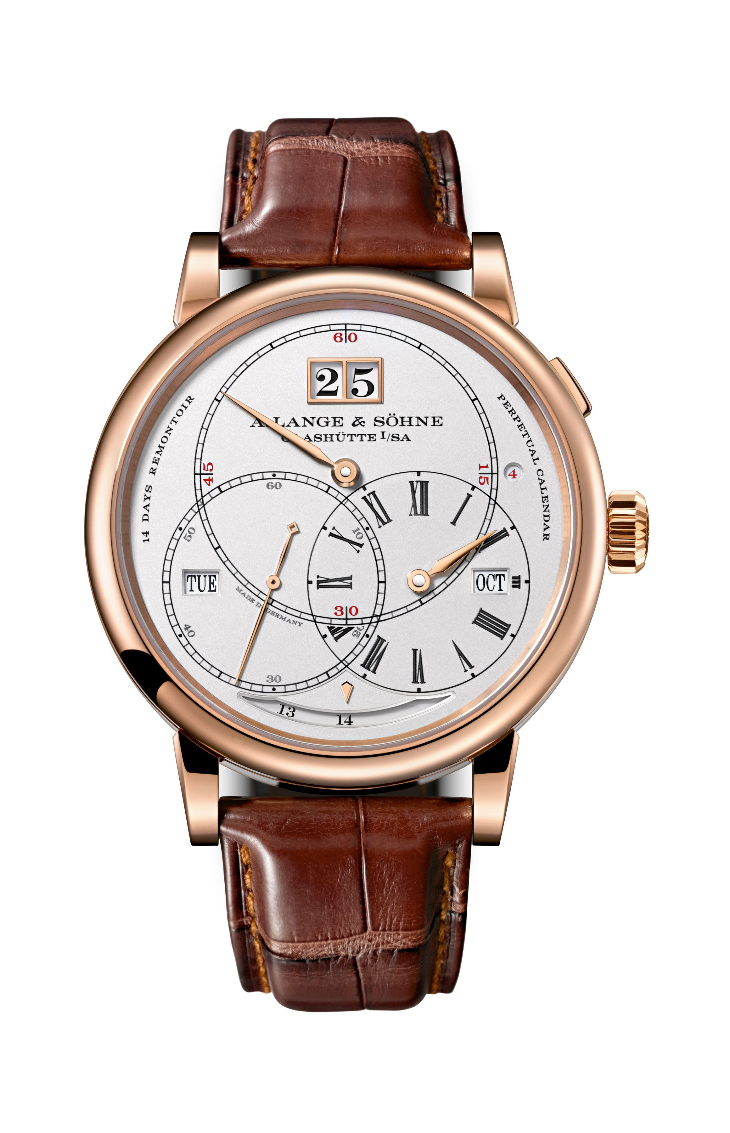 "A. Lange & Söhne Richard Lange Perpetual Calendar.  Apart from the hours, minutes, and seconds, the regulator dial of the RICHARD LANGE PERPETUAL CALENDAR ""Terraluna"" also accommodates the four precisely jumping perpetual calendar displays: date, day of week, month, and leap year."