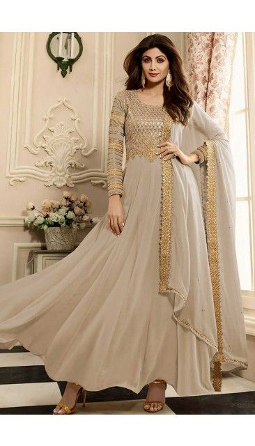 641f0f31f0 Shilpa Shetty Beige Long Georgette Anarkali Suit Suit With Dupatta -  DMV14801